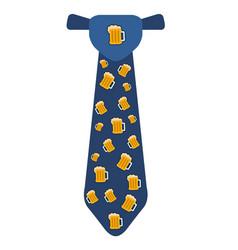Necktie with beer icons vector