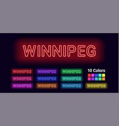 Neon name of winnipeg city vector