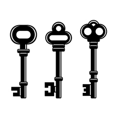 Old Vintage Keys Set on White Background vector image