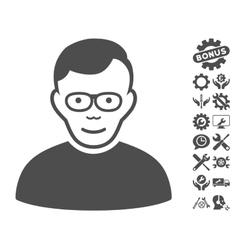 Pensioner Icon With Tools Bonus vector