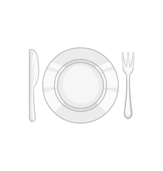Plate and cutlery icon black monochrome style vector image