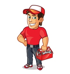 Plumber Carrying Tool Kit vector image