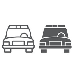 police car and glyphicon automobile and patrol vector image