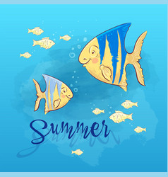 postcard print beach summer party with sea fish vector image