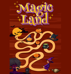 poster design with word magic land and halloween vector image