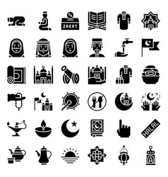 Ramadan related icon set solid style vector