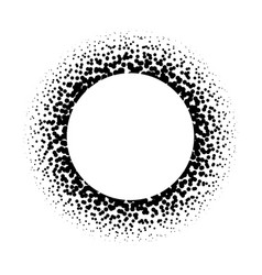 Ring of black dots scattered around modern design vector