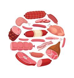 round meat banner chicken salami sausage vector image