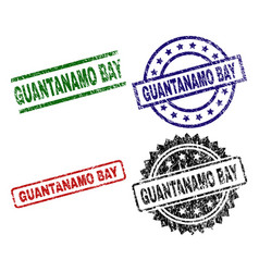 Scratched textured guantanamo bay seal stamps vector