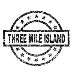 Scratched textured three mile island stamp seal vector