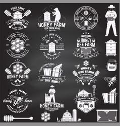 Set honey bee farm badge concept vector