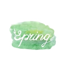 Spring lettering on green abstract backgr vector