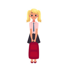 Student girl in school uniform holding backpack vector
