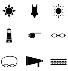swim icon set vector image