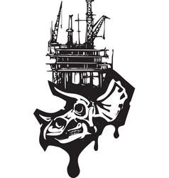Triceratops skull fossil fuel vector