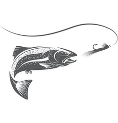 trout fish and lure design template vector image