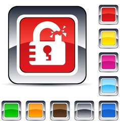unlock square button vector image