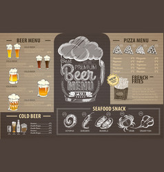 vintage beer menu design on cardboard vector image