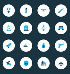 Warfare colorful icons set collection of vector