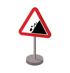 Warning road sign icon in cartoon style isolated vector image