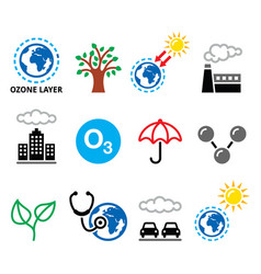 World ozone day ecology climate icons vector