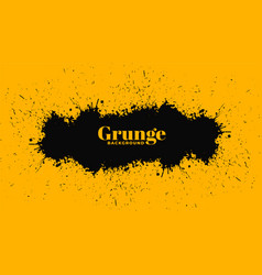 yellow background with black grunge splatter vector image