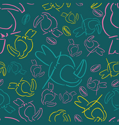 yellow line tucan bird background seamless pattern vector image