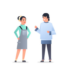 young asian couple wearing casual clothes happy vector image