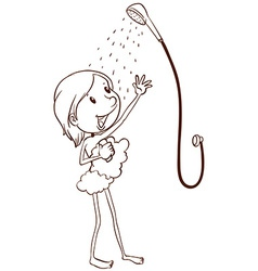 A young girl taking a shower vector image vector image
