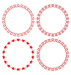 Collection of round frames from hearts vector image
