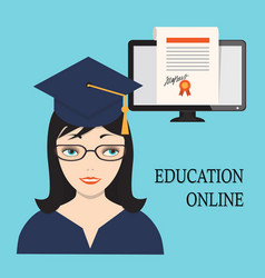 Education online with girl and diploma into vector