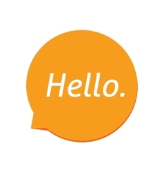 Hello icon white greeting text on orange vector image vector image