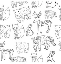 kids drawing of animals - seamless pattern doodle vector image