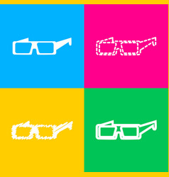 modern glass sign four styles of icon on four vector image