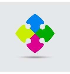 Puzzle Four Color Piece Sign Icon Symbol vector image vector image
