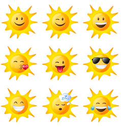 different facial expressions of the sun vector image vector image