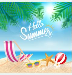 Hello summer holiday background season vacation vector