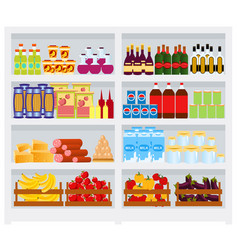 supermarket shelf with goods fruits and vector image