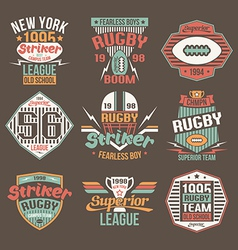 College team American football retro emblems vector image