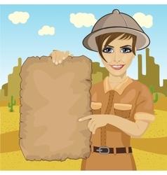 Explorer woman hat holding treasure map vector