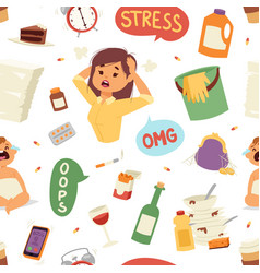 funny brunette stressed vector image vector image