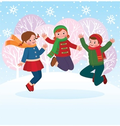 Group of children playing in the snow in the winte vector image vector image