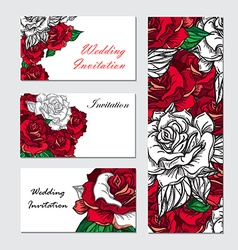 Hand Drawn Wedding Rose Invitation vector image vector image