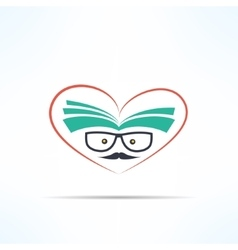 love reading symbol with heart and book in vector image vector image