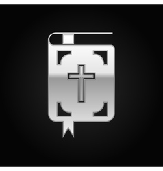 Silver bible icon on black background vector