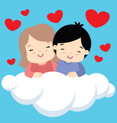 boy and girl hugging on cloud valentines day card vector image vector image