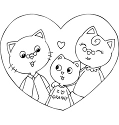 Cat grandfather grandmother and grandson vector image vector image
