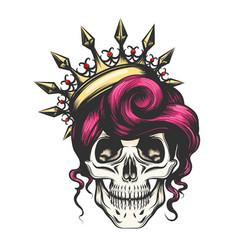 Female skull in crown vector