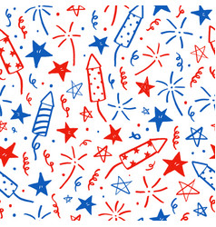 Hand drawn doodles fourth of july i vector