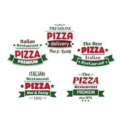 Set of italian pizza labels vector image vector image